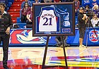 Adrian Mitchell speaks to the Allen Fieldhouse crowd on Sunday, Jan. 28, 2018 during her jersey retirement ceremony at halftime of KU's game against Kansas State.