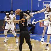 The Kansas defense sets up a zone late in the first-half in a Jayhawks game against Texas Wednesday, Jan. 31, 2018 at Allen Fieldhouse.
