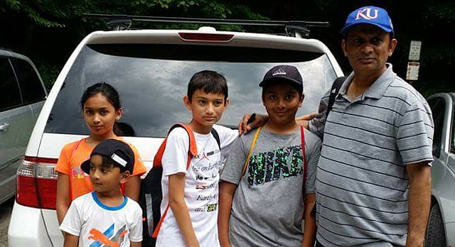 Syed Jamal, seen here with his daughter, two sons and his nephew during a family vacation in Tennessee, is facing deportation after more than 30 years in the United States. Jamal, a Lawrence research scientist and academic, has three American-born children, all of whom attend Lawrence schools: Taseen, 13, Naheen, 12, and Fareed, 6.