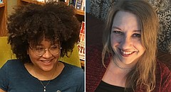 Poet Rachel Atakpa, left, and fiction writer Kim Condon, right, are 2018's Langston Hughes Award winners.