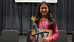 "Raintree Montessori School student Zoe Cachiguango-Latta won the Douglas County Spelling Bee by correctly spelling the word ""repugnant"" on Saturday, Feb. 3, 2018 at Southwest Middle School."