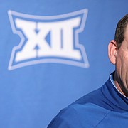 Kansas head football coach David Beaty talks about his recruits during his National Signing Day press conference on Wednesday, Feb. 7, 2018 at the Anderson Family Football Complex.