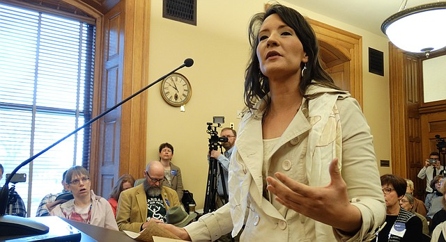 Amy Houston of Mulvane, a small business owner and cancer survivor, testifies before a Senate committee in support of expanding the Kansas Medicaid program under the Affordable Care Act. The Colyer administration, however, remains opposed to the idea.