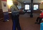 Lawrence police chief Gregory Burns Jr. speaks to community members Thursday, Feb. 15, 2018 at the Watkins Museum of History, 1047 Massachusetts St. The public event was hosted by the League of Women Voters of Lawrence-Douglas County.