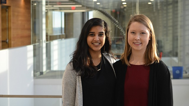 University of Kansas engineering students Alita Joseph, left, and Ashley Hutton organized a women-in-STEM conference Saturday, Feb. 17 for moms and daughters as part of a yearlong capstone project. Joseph and Hutton are pictured at the Earth, Energy and Environment Center on Friday, Feb. 16, 2018.