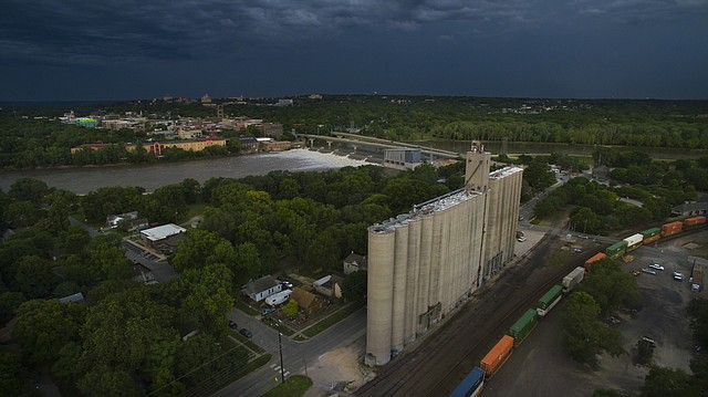 In this file photo from June 16, 2016, dark skies roll over a North Lawrence grain elevator.