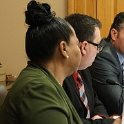 Sen. Ty Masterson, right, R-Andover, urges the Federal and State Affairs Committee to pass a bill that would prevent colleges and universities from limiting free speech rights of students and faculty.