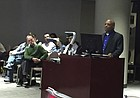 """Lawrence Police Chief Gregory Burns Jr. addresses the Lawrence City Commission on Feb. 20, 2017. Burns explained the police department's response to a """"Defend the Flag"""" protest on Feb. 3 that brought Confederate flags to downtown Lawrence."""