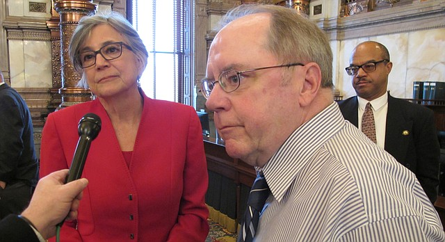 Kansas Senate President Susan Wagle, left, R-Wichita, and Senate Minority Leader Anthony Hensley, right, D-Topeka, answer questions from reporters following a debate on a lobbying bill, Tuesday, Feb. 20, 2018, at the Statehouse in Topeka, Kan. (AP Photo/John Hanna)