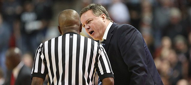 Kansas head coach Bill Self gets at an official during the second half on Saturday, Feb. 24, 2018 at United Supermarkets Arena.