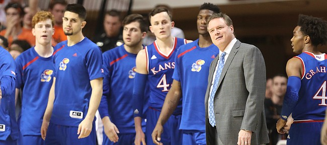 Kansas head coach Bill Self reacts as his players come off the court during a timeout in the first half, Saturday, March 3, 2018 at Gallagher-Iba Arena, in Stillwater, Okla.