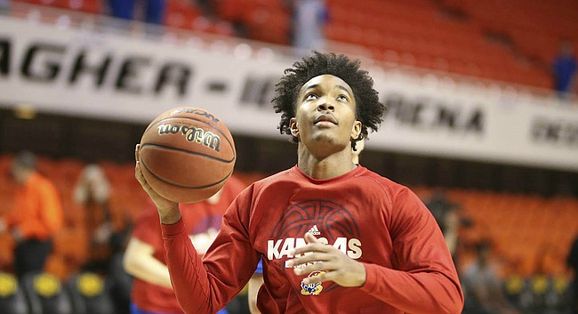 Kansas senior point guard Devonte' Graham warms up prior to the Jayhawks' regular-season finale at Oklahoma State, on March 3, 2018, in Stillwater, Okla.
