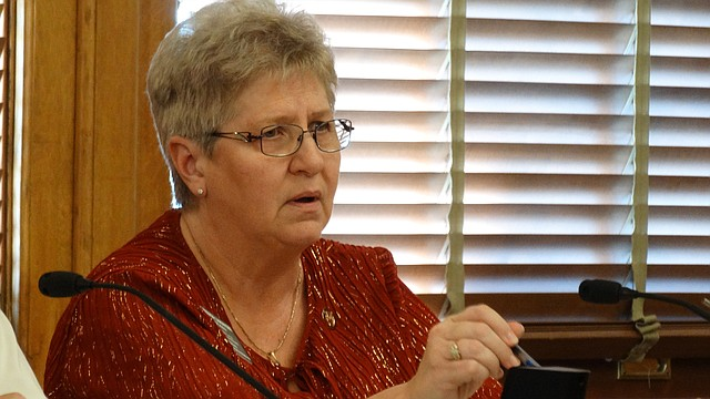 Rep. Brenda Landwehr, R-Wichita, argues in a committee meeting that the public should be allowed to see what kinds of budget sacrifices other state agencies will need to make in order to satisfy a Kansas Supreme Court ruling on school finance.