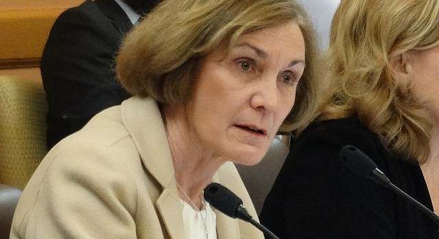 In this file photo from Jan. 23, 2017, Sen. Barbara Bollier, R-Mission Hills, asks a question during a Public Health and Welfare Committee hearing at the Kansas Statehouse in Topeka.