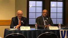 Jim Ward and Carl Brewer discuss the rising costs of higher education at a panel at the Kansas Union on Wed. March 7, 2018.