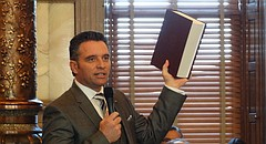 """Sen. Ty Masterson, R-Andover, holds a volume of the annotated U.S. Constitution as he argues in favor of calling a """"convention of the states"""" to propose amendments reining in the power of the federal government."""