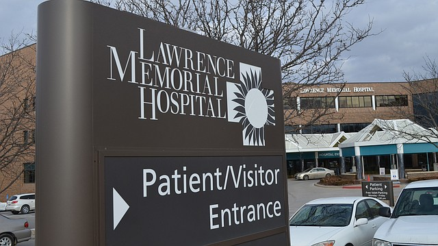 A sign at the entrance to Lawrence Memorial Hospital is shown on Jan. 26, 2018.