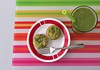A top o' the mornin' tropical green smoothie and two cheesy green spinach eggy muffins