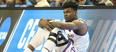 Kansas center Udoka Azubuike (35) waits to check into the game during the first half, Thursday, March 15, 2018 at Intrust Bank Arena in Wichita, Kan.
