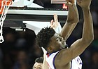 Kansas center Udoka Azubuike (35) gets up for a rebound over Seton Hall forward Sandro Mamukelashvili (23) during the first half, Saturday, March 17, 2018 in Wichita, Kan.