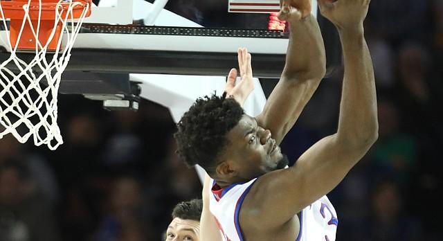 Kansas center Udoka Azubuike (35) gets up for a rebound over Seton Hall forward Sandro Mamukelashvili (23) during the first half, Saturday, March 17, 2018 in Wichita, Kan.
