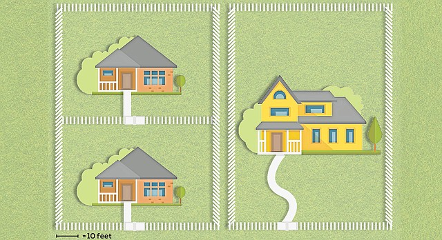 This graphic is a representation of a project the nonprofit Lawrence Community Housing Trust has proposed to incorporate smaller lots and homes into existing neighborhoods. Shown are two 7,000-square-foot lots. The one at left has been divided and holds two 700-square-foot affordable homes; the other holds a single 2,000-square-foot house.