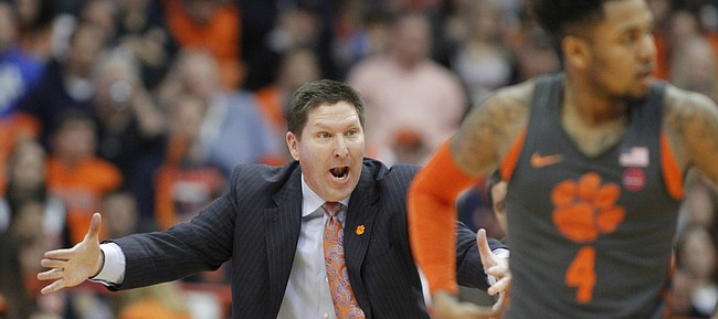 Clemson head coach Brad Brownell yells to his players during the second half of an NCAA college basketball game against Syracuse in Syracuse, N.Y., Saturday, March 3, 2018. Syracuse won 55-52. (AP Photo/Nick Lisi)