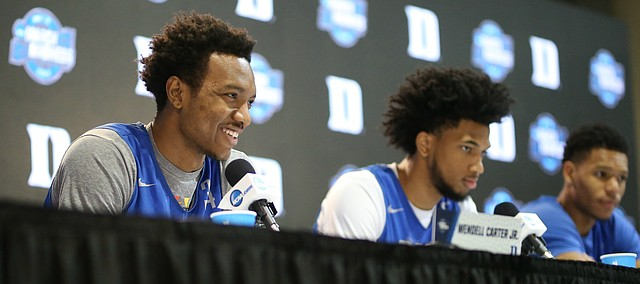 Duke forward Wendell Carter Jr., left, Duke forward Marvin Bagley III and Duke guard Trevon Duval take questions from reporters during a press conference on Saturday, March 24, 2018 at CenturyLink Center in Omaha, Neb.