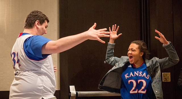University of Kansas debaters Will Katz, left, and Quaram Robinson, right, are pictured at the National Debate Tournament, which ended early Tuesday, March 27, 2018, at Wichita State University. Katz and Robinson defeated a team from Georgetown University to win KU's sixth debate national championship.