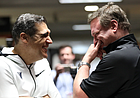 Villanova head coach Jay Wright, left, and Kansas head coach Bill Self have a laugh in the hallway while waiting to do a joint interview on Thursday, March 29, 2018 at the Alamodome in San Antonio, Texas.