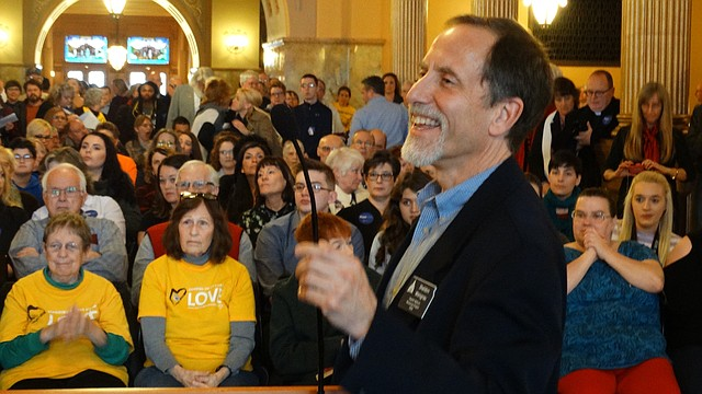Sheldon Weisgrau, of the Alliance for a Healthy Kansas, leads a rally at the Statehouse on Tuesday, April 3, 2018 calling for passage of a bill to expand the state's Medicaid program under the Affordable Care Act.