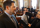 House Speaker Ron Ryckman Jr., R-Olathe, answers questions from reporters after the House passed a five-year, $500 million increase in school funding on Tuesday, April 3, 2018. The House had rejected that same bill a day earlier.