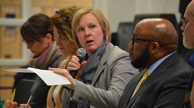 Lawrence school board President Shannon Kimball addresses a question from the audience at the district's Community Conversation at West Middle School on Tuesday, April 3, 2018. At right is incoming superintendent Anthony Lewis.