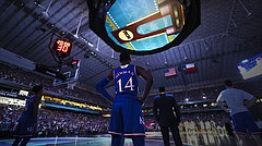 Kansas guard Malik Newman (14) watches as the Villanova Wildcats are introduced on Saturday, March 31, 2018 at the Alamodome in San Antonio.