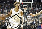 Romeo Langford (9) in action during the Jordan Brand Classic high school basketball game, Sunday, April 8, 2018, in Brooklyn, N.Y.