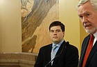 Former congressional candidate Matt Bevens, left, announces Wednesday that he is suspending his campaign in the 2nd District race and is endorsing fellow Republican Sen. Steve Fitzgerald.