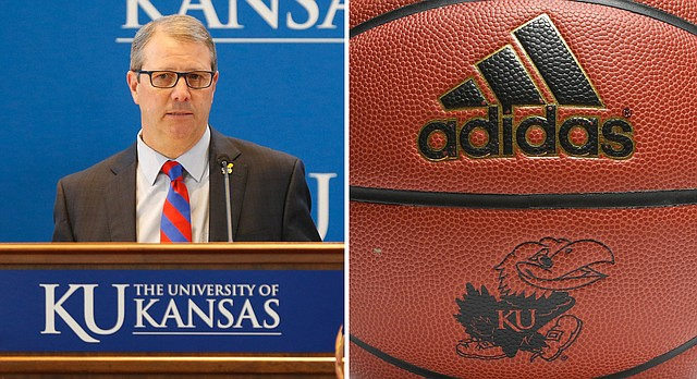 University of Kansas Chancellor Douglas Girod and a KU-branded adidas basketball are pictured in Journal-World file photos.