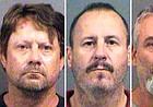 This combination of Oct. 14, 2016, file booking photos provided by the Sedgwick County Sheriff's Office in Wichita, Kan., shows from left, Patrick Stein, Curtis Allen and Gavin Wright, three members of a Kansas militia group who were charged with plotting to bomb an apartment building filled with Somali immigrants in Garden City, Kan. The jury in their trial returns to the courtroom on Tuesday, April 17, 2018, to get final instructions and to hear arguments before getting the case for deliberation. (Sedgwick County Sheriff's Office via AP, File)