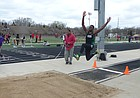 Free State's Jacobee Williams competes in the long jump at the Little KU Relays held at Lawrence High.