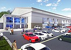 This rendering shows the design for a new $26 million University of Kansas indoor football practice facility, as seen from the northeast looking southwest.