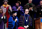 University of Kansas Chancellor Douglas A. Girod is acknowledged by faculty and a gathered audience at the Lied Center after being installed as the 18th chancellor of the university on Friday, April 20, 2018.