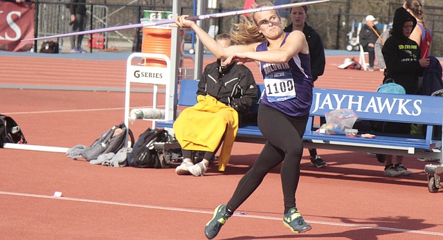 Baldwin junior Kayla Kurtz makes her way down the runway during the girls javelin competition at the Kansas Relays on Friday at Rock Chalk Park. Kurtz finished fourth with a throw of 139 feet, 4 inches.
