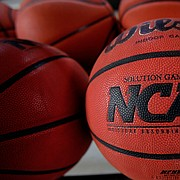 In this March 22, 2010, file photo, basketballs are seen before Northern Iowa's NCAA college basketball practice, in Cedar Falls, Iowa. (AP Photo/Charlie Neibergall, File)