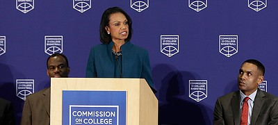 Former U.S. Secretary of State Condoleezza Rice speaks during a news conference at the NCAA headquarters, Wednesday, April 25, 2018, in Indianapolis. The Commission on College Basketball led by Rice, released a detailed 60-page report, seven months after the NCAA formed the group to respond to a federal corruption investigation that rocked college basketball. (AP Photo/Darron Cummings)