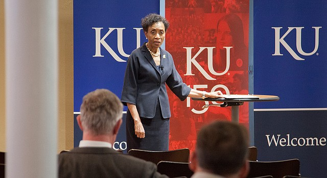 In this file photo from Feb. 6, 2016, University of Kansas Chancellor Bernadette Gray-Little answers questions during an informal forum at The Commons in Spooner Hall.