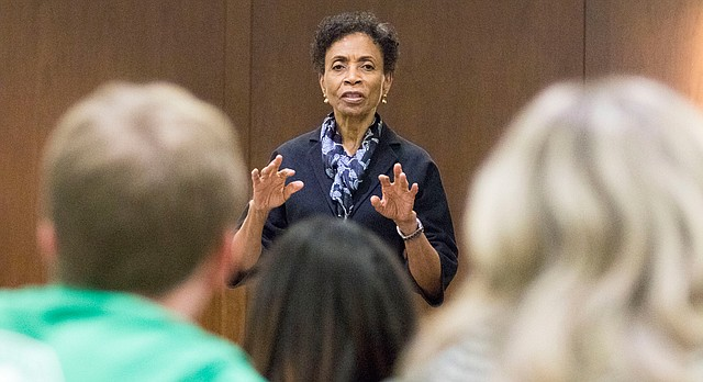 In this file photo from March 9, 2016, former University of Kansas Chancellor Bernadette Gray-Little speaks to the KU Student Senate at the Kansas Union.