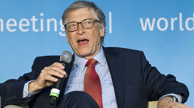 In this April 21, 2018 photo, Bill Gates speaks at the panel Building Human Capital: A Project for the World, during the World Bank/IMF Spring Meetings, in Washington. (AP Photo/Jose Luis Magana)