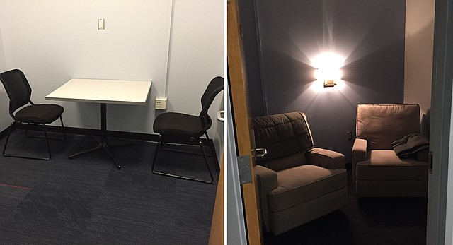 """Shown at left is a traditional police interview room at the University of Kansas Office of Public Safety, pictured Friday, May 4, 2018. At right is the """"Trauma Informed Interview Room."""" The latter was renovated this spring with victims in mind and is located next to the traditional interview room."""