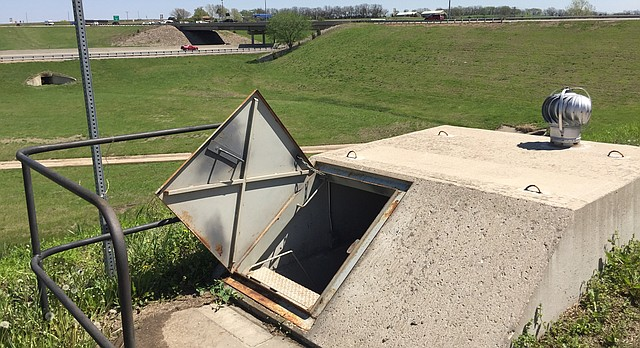 A tornado shelter at the Kansas Turnpike's Lecompton exit, milepost 197, is pictured Friday, May 4, 2018. Such shelters along the turnpike statewide are available for turnpike travelers and employees.