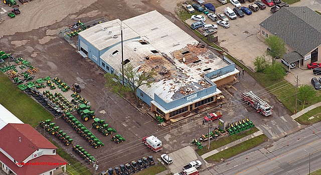 An aerial photo shows damage to Heritage Tractor, 1110 E. 23rd St., caused by a fire that occurred on Saturday, May 5, 2018.